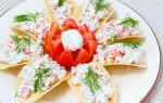 Закуска на чипсах с крабовыми палочками рецепт с фото