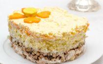 Слоеный салат с копченой курицей и шампиньонами рецепт