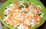 Салат с корейской морковью и крабовыми палочками, рецепт с фото