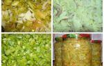 Салат из зеленых помидоров с болгарским перцем, чесноком на зиму, рецепт с фото