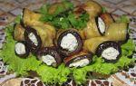 Рулетики из баклажанов с творогом и чесноком, рецепт с фото