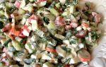 Салат с крабовыми палочками, огурцами и помидорами – рецепт с фото