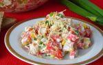 Салат клеопатра с курицей и крабовыми палочками рецепт с фото