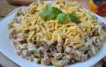 Салат с ветчиной и жареными грибами рецепт с фото